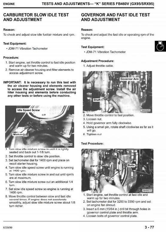 John Deere Riding Mowers: GX70, GX75, GX85, GX95, SRX75, SRX95, SX85 Service Manual (tm1491)