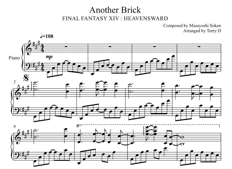 Final Fantasy XIV : Another Brick for piano solo (Arr.by Terry:D)