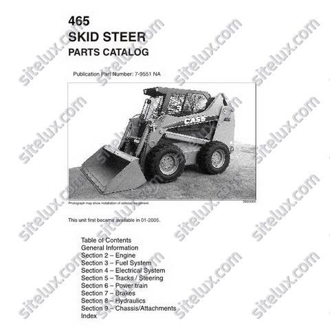 Case 465 Skid Steer Loader Parts Catalog