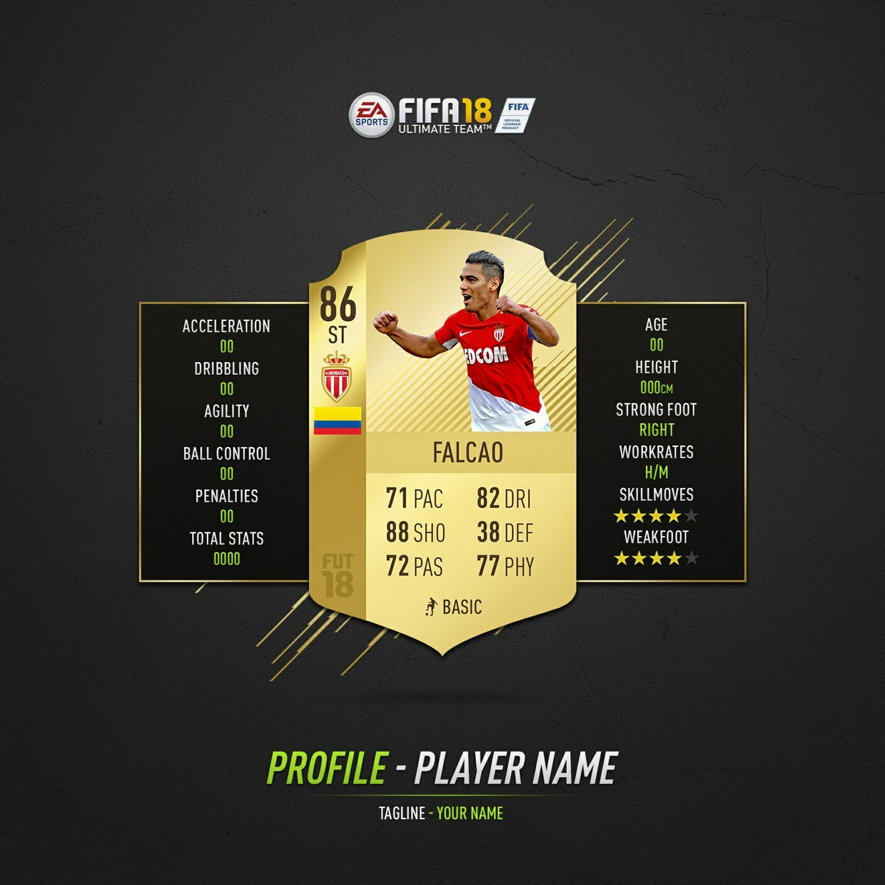 FIFA 18 Customisable Player Highlight Template Pack (Photoshop)