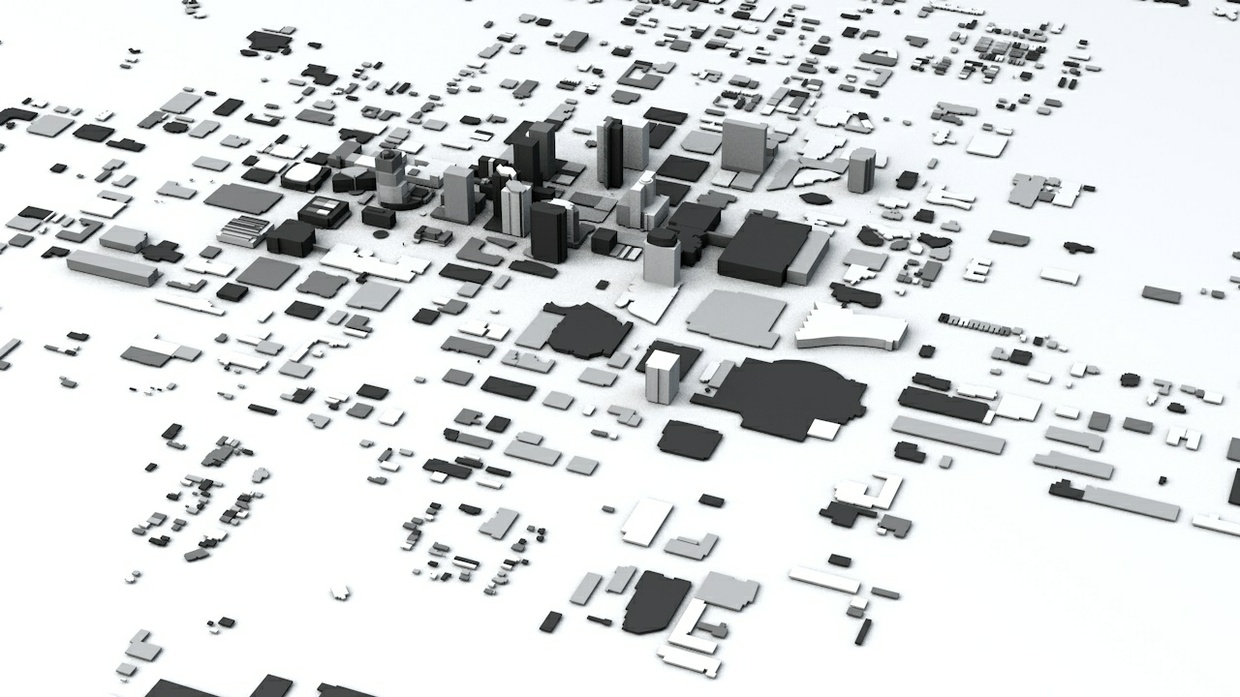 Phoenix Downtown Streets and Buildings Architectural 3D Model