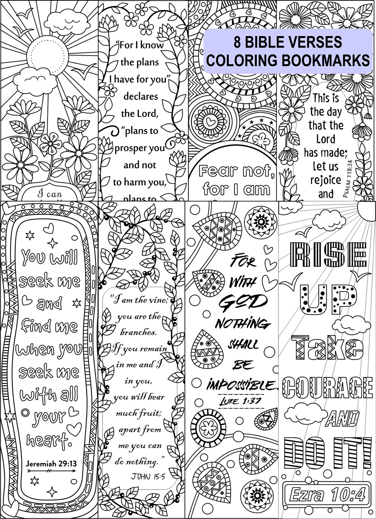 religious bookmark templates - 8 bible verse coloring bookmarks ricldp artworks