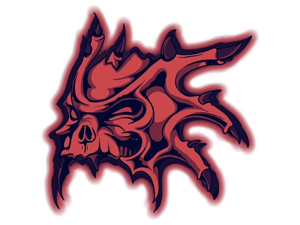 Tshirt Design - Horned Skull In Red