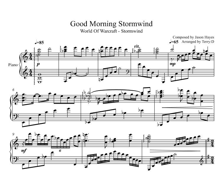 Good Morning STORMWIND (WoW Stormwind Theme piano cover Arr.by Terry:D)
