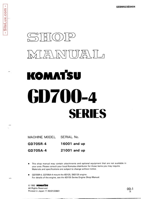Komatsu GD700-4 Series Motor Grader Shop Manual - SEBM023E0404