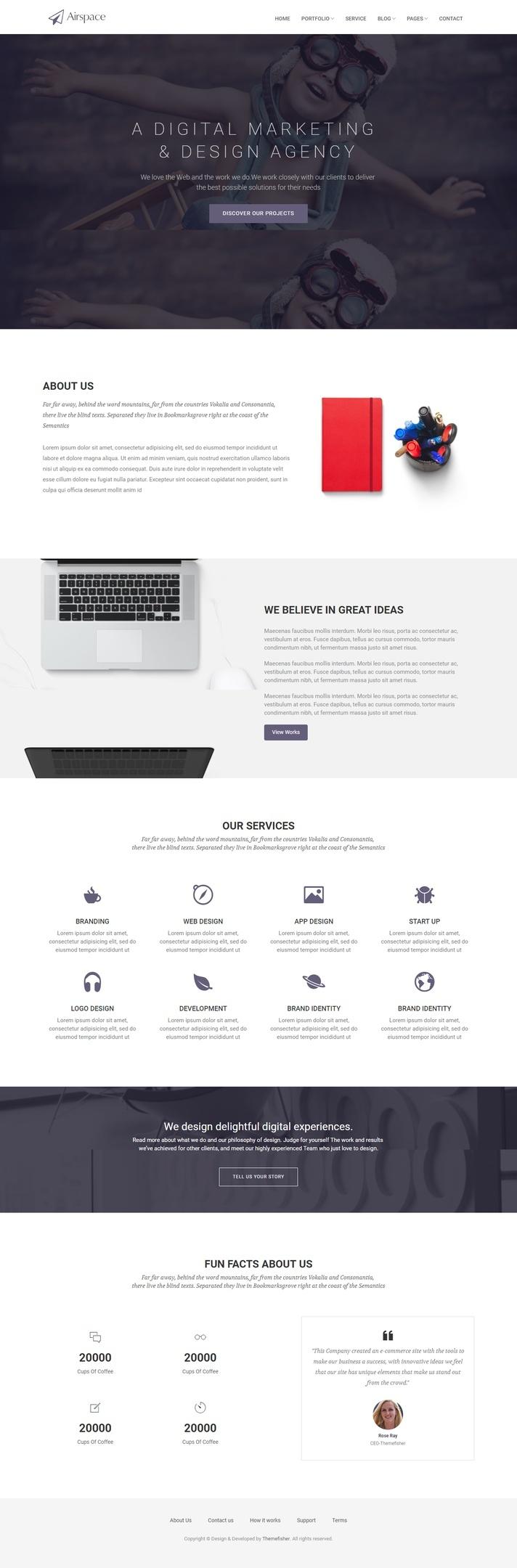 Airspace - Plantilla de sitio web para agencia o negocio