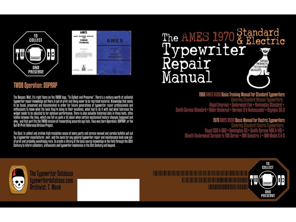 The 1970 AMES Standard & Electric Typewriter Repair Manual