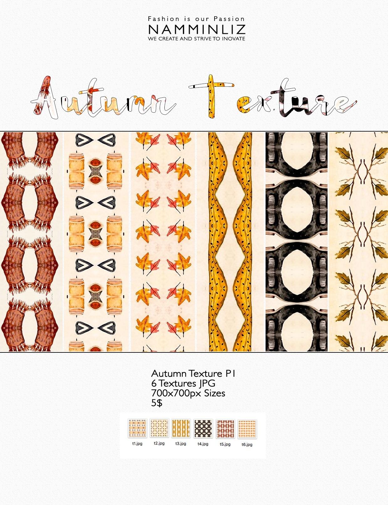 Autumn Texture P1 - 6 Textures JPG 700x700px