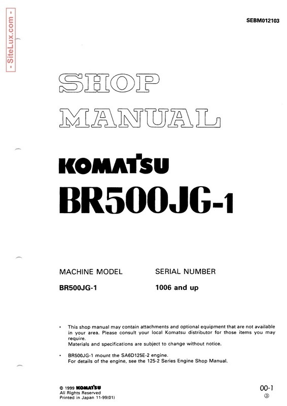 Komatsu BR500JG-1 Mobile Crusher Shop Manual - SEBM012103