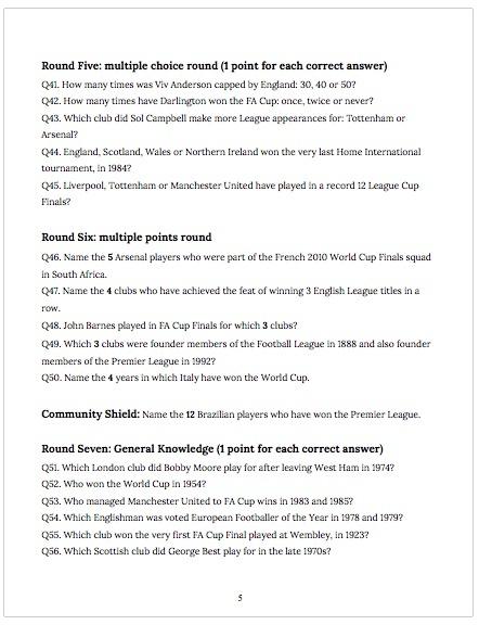 Rob Thoms Massive Football History Quiz No. 1