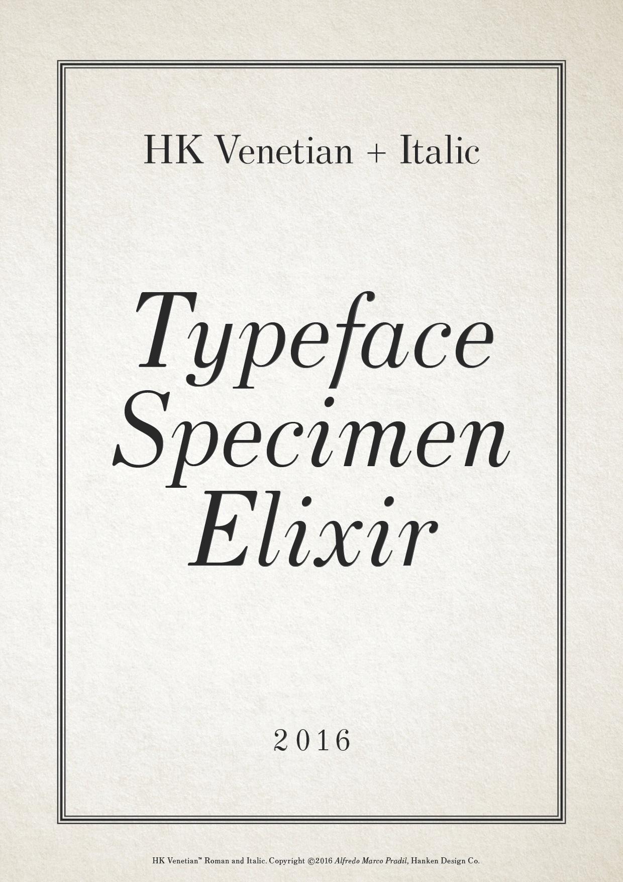 HK Venetian Typeface