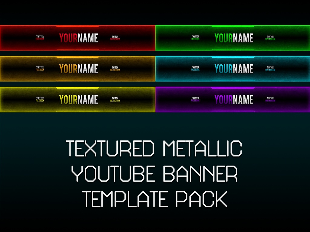 Textured Metallic YouTube Banner Template Pack