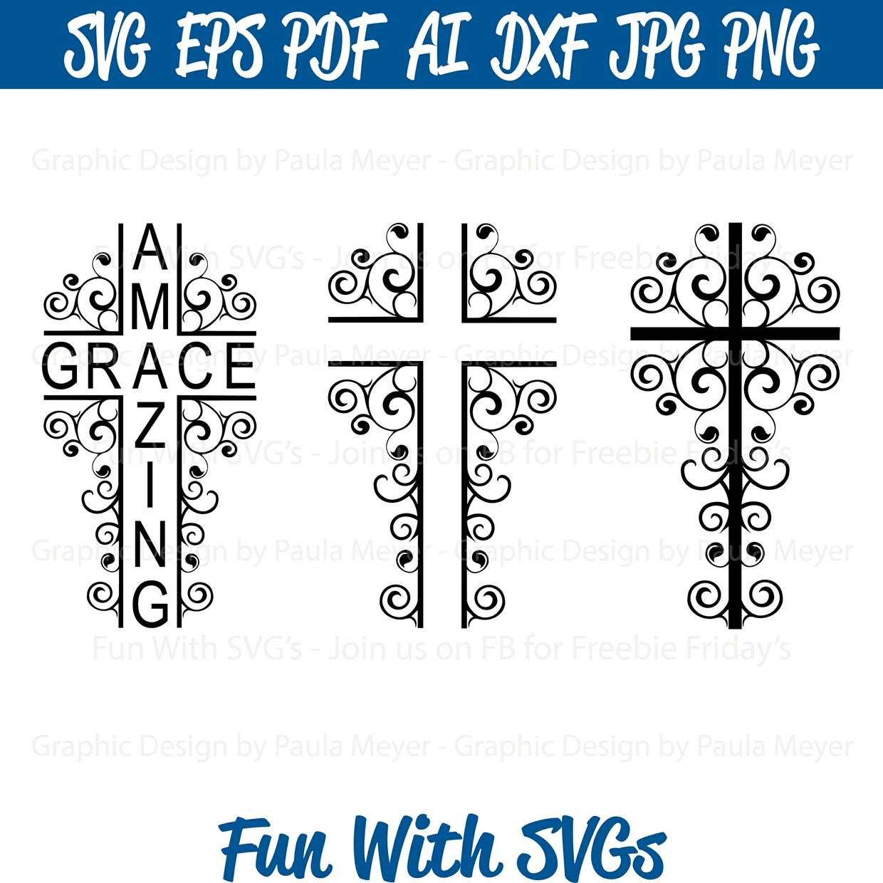 Split Scroll Cross - Amazing Grace - SVG Cut File, Printable Graphics and Editable Vector Art