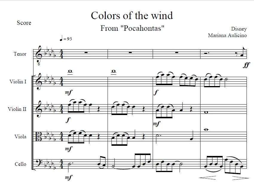 Colors of the wind - Pocahontas (Disney) String quartet + vocals