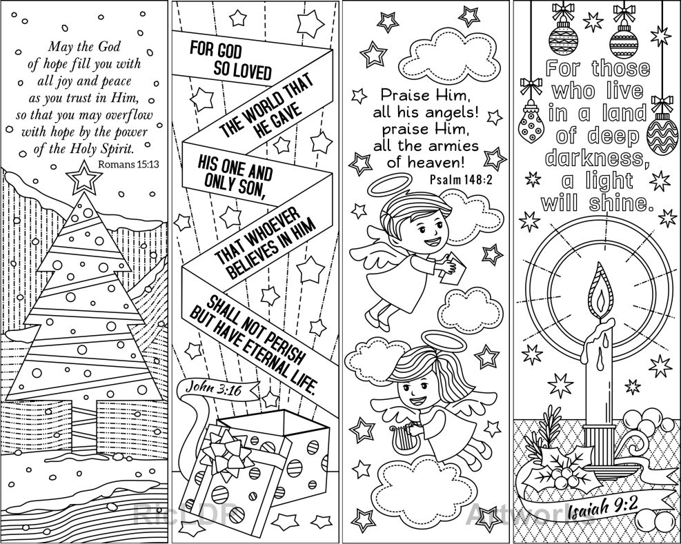 8 Christmas Coloring Bookmarks     (plus 4 colored bookmarks)