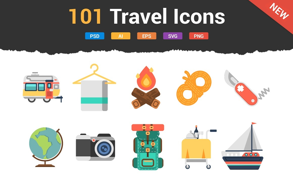 101 Flat Travel Icons