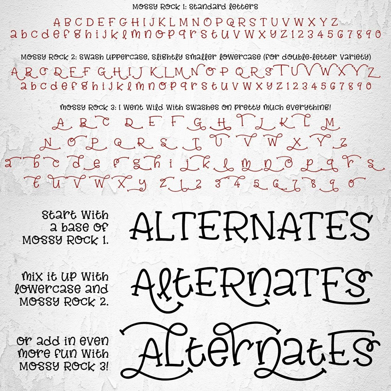 Mossy Rock: a fun font with fancy alternates!