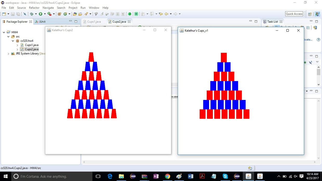 GUI application that displays the following graphics of red and blue cups Solution