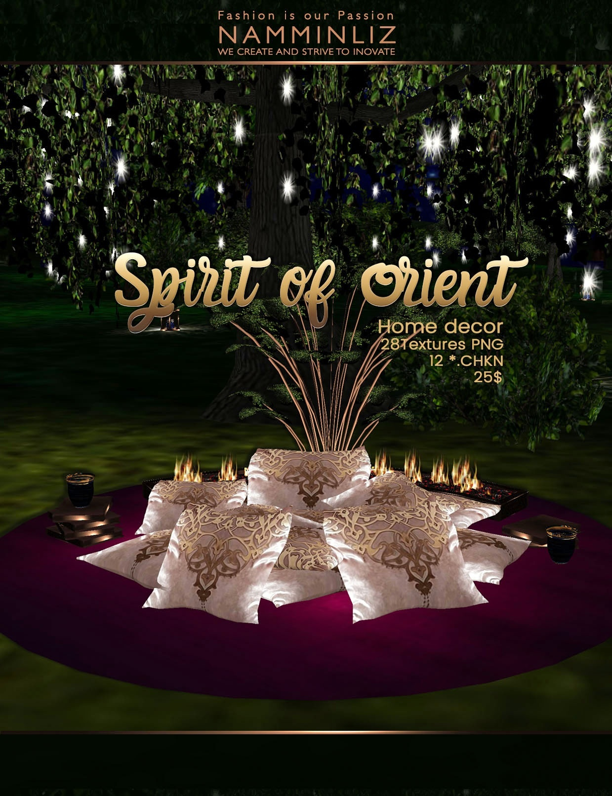Spirit of Orient Home decor imvu 28 Textures PNG 12*.CHKN