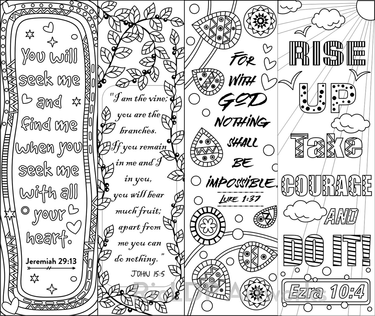 8 bible verse coloring bookmarks ricldp artworks for Religious bookmark templates