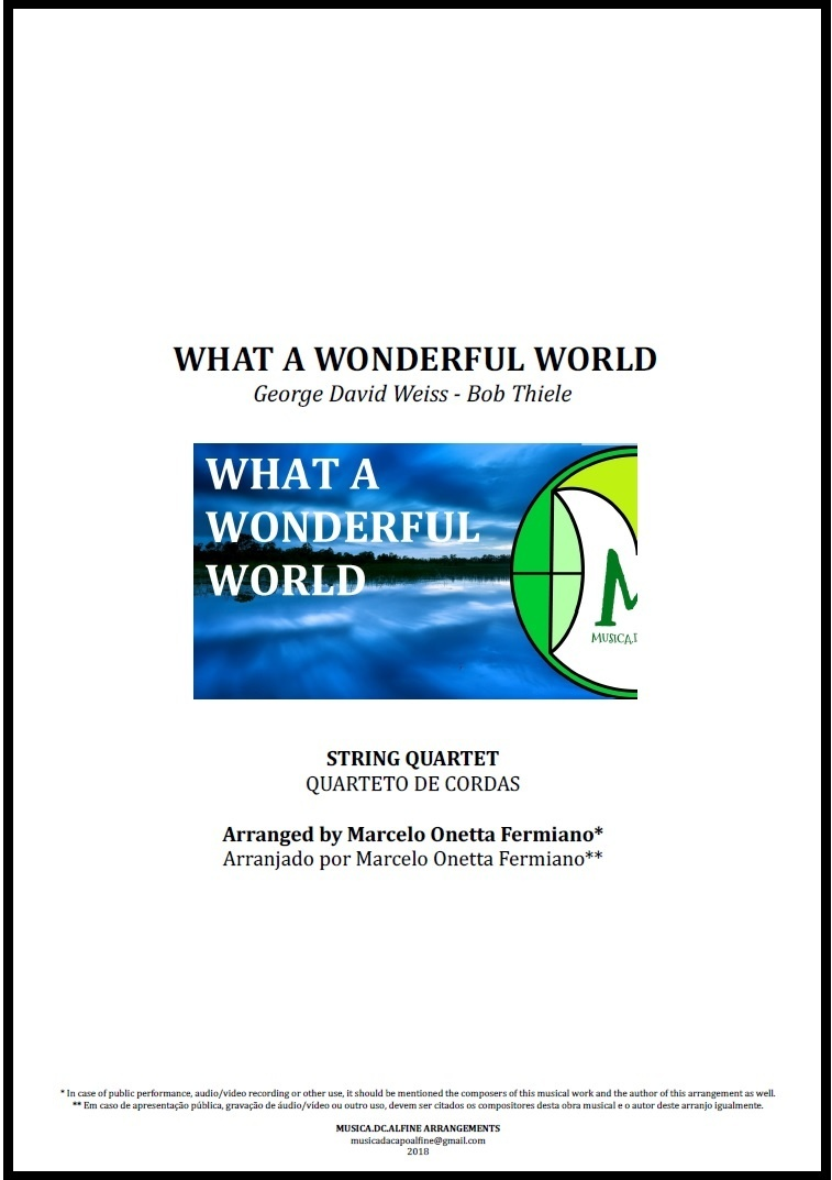 What a Wonderful World | Louis Armstrong | String Quartet | Score and Parts