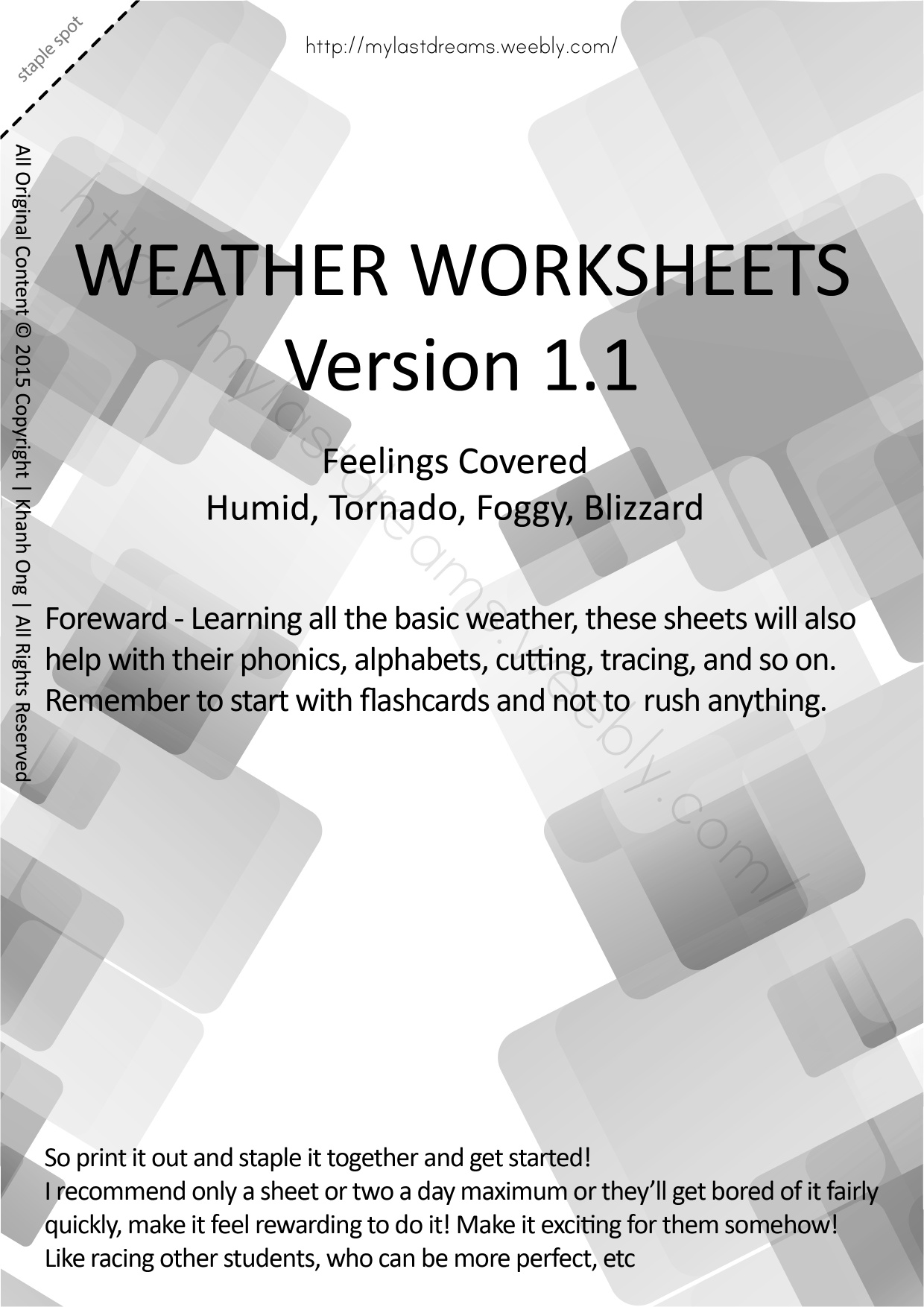 MLD - Basic Weather Worksheets - Part 3 - A4 Sized