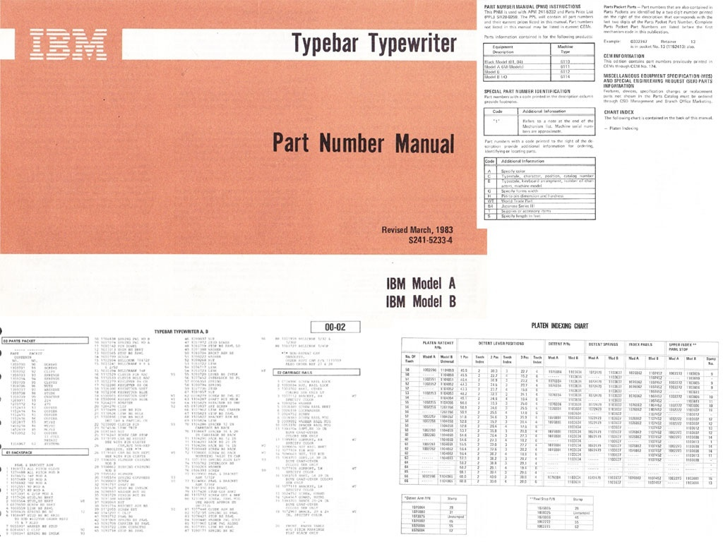 IBM S241-5233-4 Typewriter Models A & B Part Number Manual