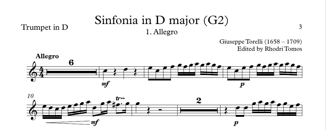 Torelli G2 Sinfonia in D major. Sheet music pdf trumpets & accompaniment play along mp3