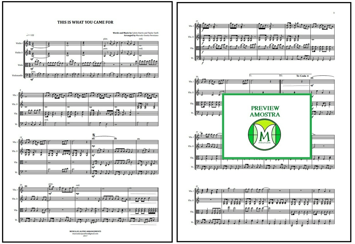 This is What You Came For | Calvin Harris | String Quartet | Score and Parts Download