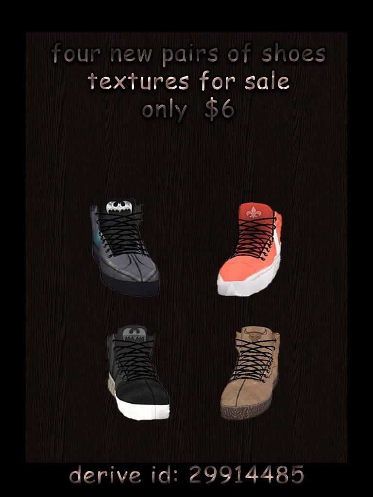 Four new pairs of shoes textures imvu for sale only $6