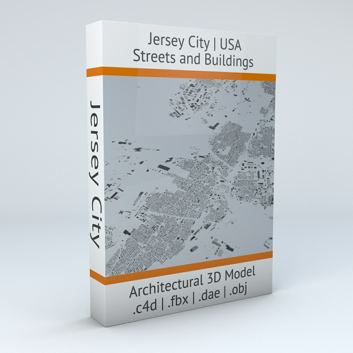 Jersey City Streets and Buildings Architectural 3D Model
