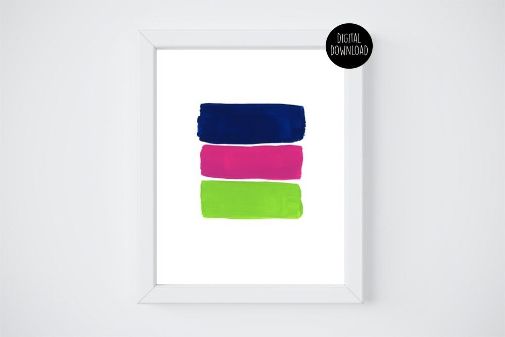 blue pink green shades acrylic painting // 8x10 // printable digital download
