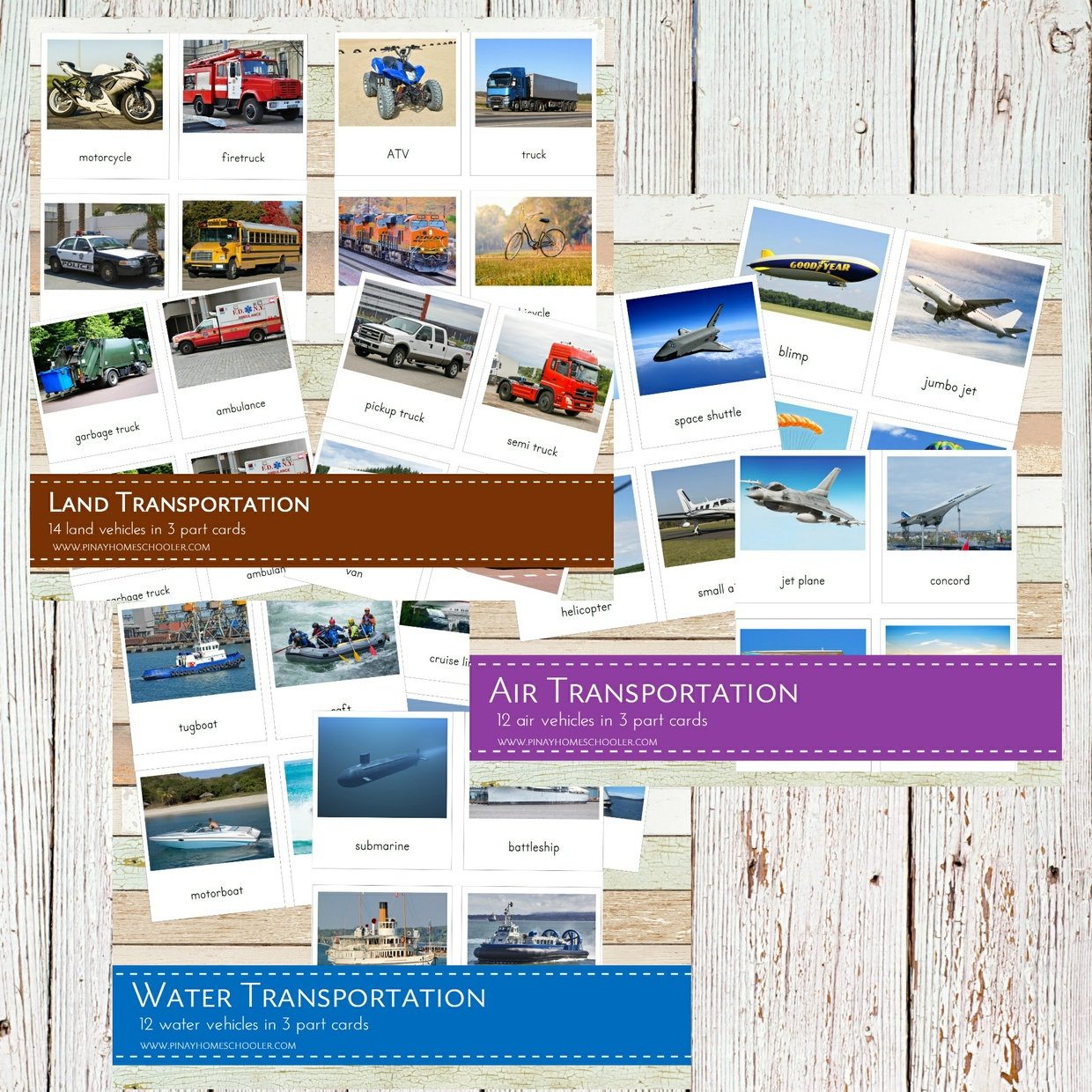 Land, Air and Water Transportation Bundle Pack