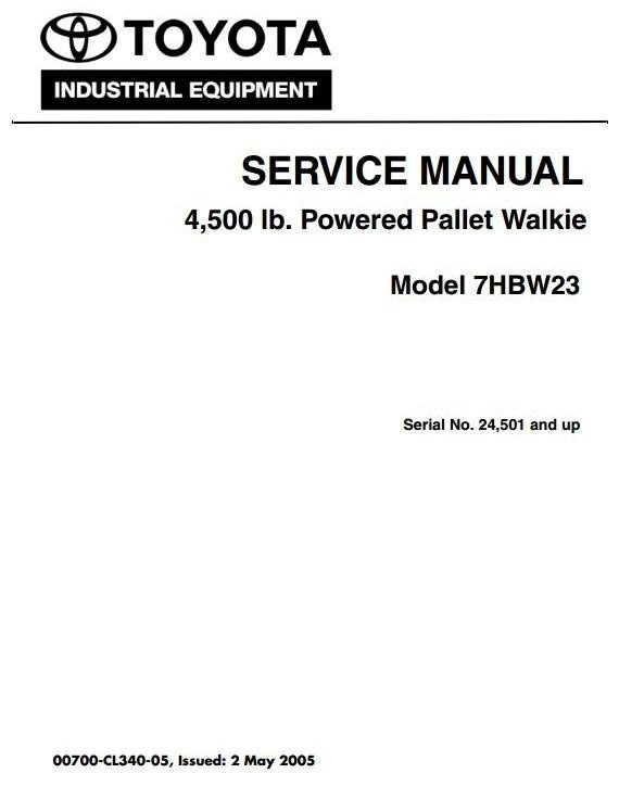 Toyota Pallet Walkie 7HBW23 SN 24501 and up  Workshop Service Manual