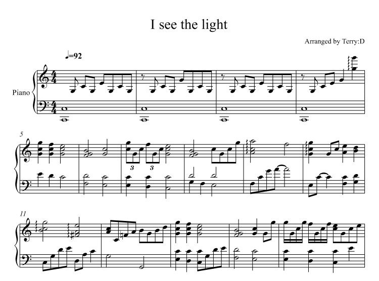 """ I see the light "" piano instrumental sheetmusic. Arr.by Terry:D (Tangled)"