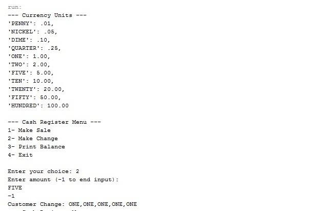 Cash Register program using Greedy Algorithm in Java with full source code