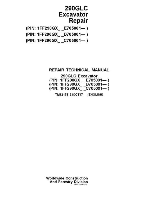 John Deere 290GLC Excavator Service Technical Manual TM12178