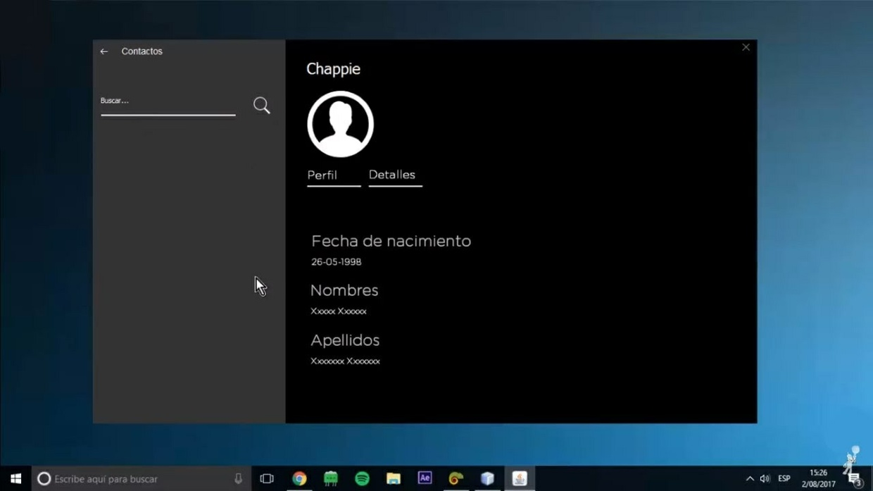 Estilo Windows 10 ventana