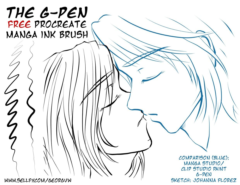 Free manga ink brush g pen for procreate