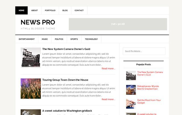 News pro responsive blogger template bari for Pro photo blog templates