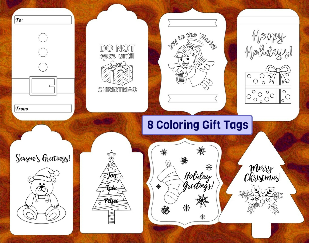 16 Christmas Gift Tags (plus 8 coloring tags)