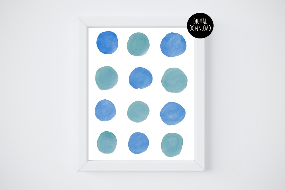 blue and green circles painting // 8x10 // printable digital download
