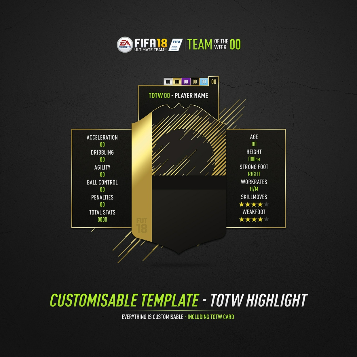FIFA 18 Customisable TOTW Highlight Template (Photoshop)