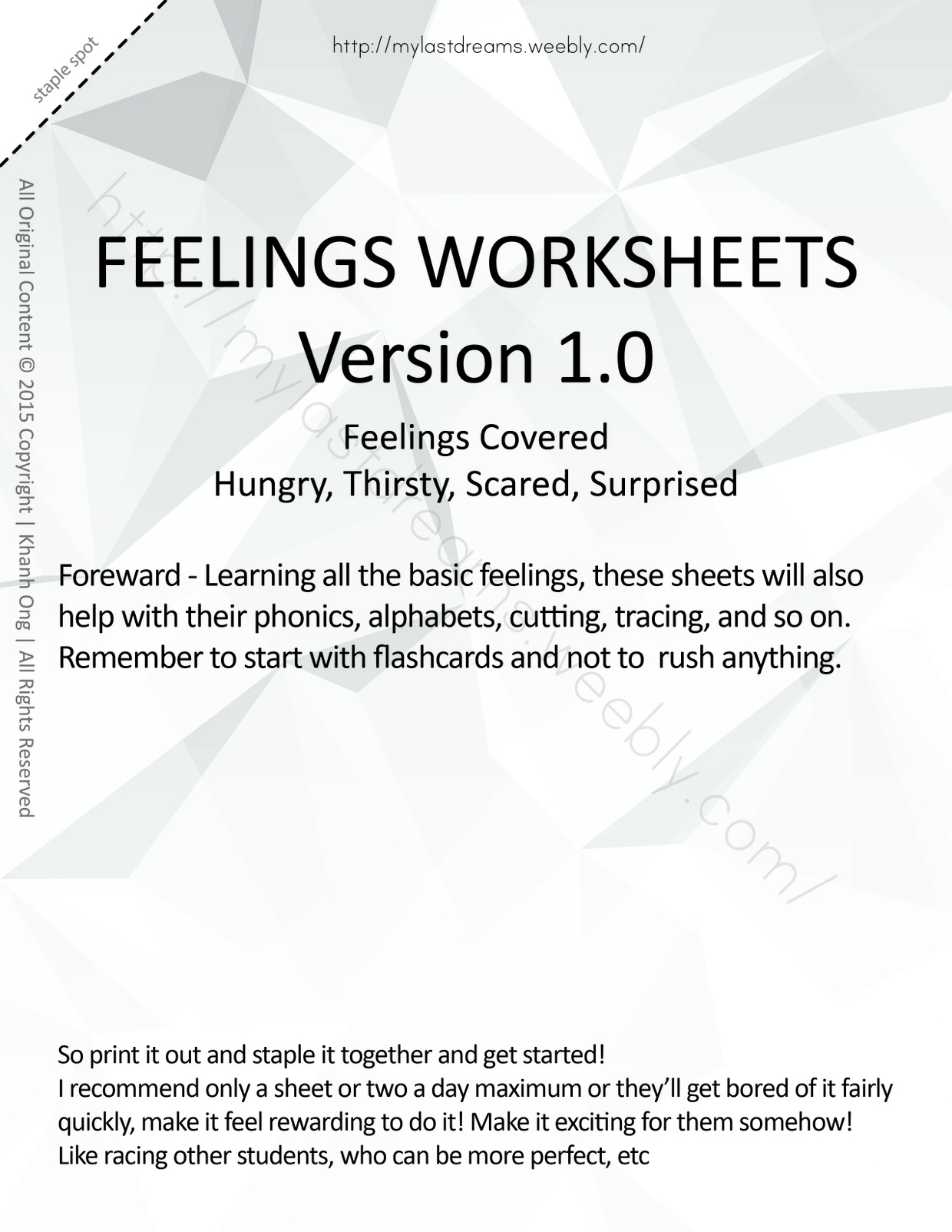 MLD - Basic Feeling Worksheets - Part 3 - Letter Sized
