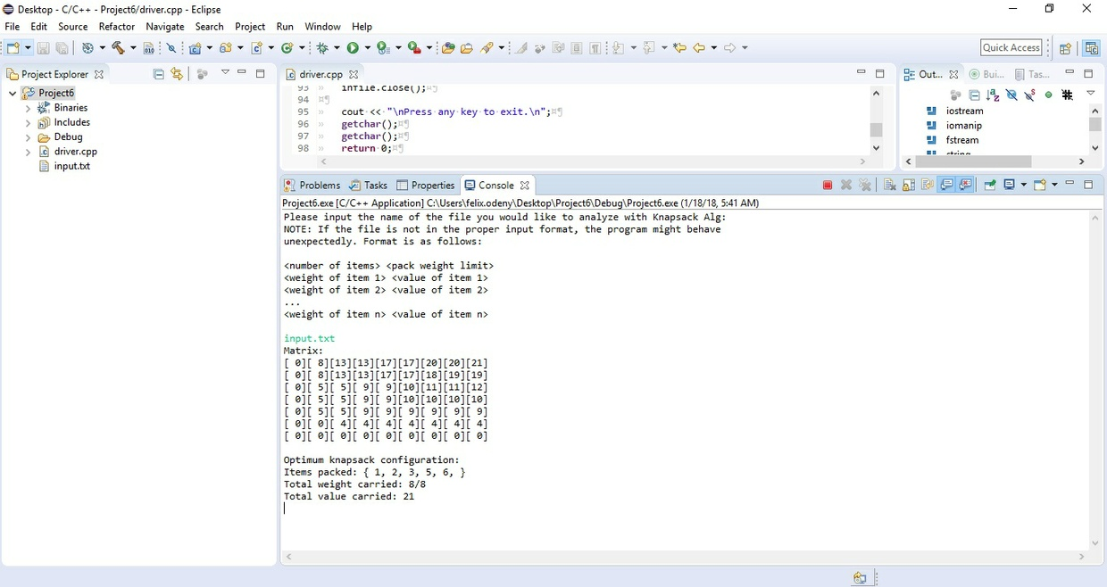 CS 340 Programming Assignment VI:  Knapsack via Dynamic Programming