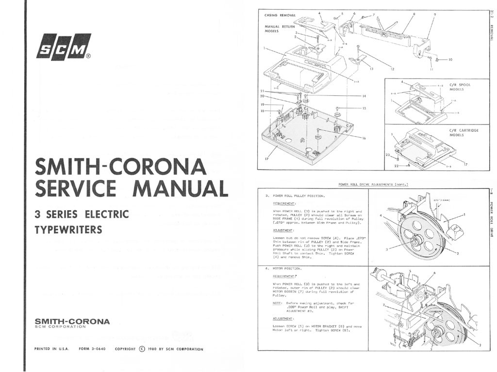 Smith-Corona 3 Series Electric Portable Typewriter Repair Adjustment Service Manual