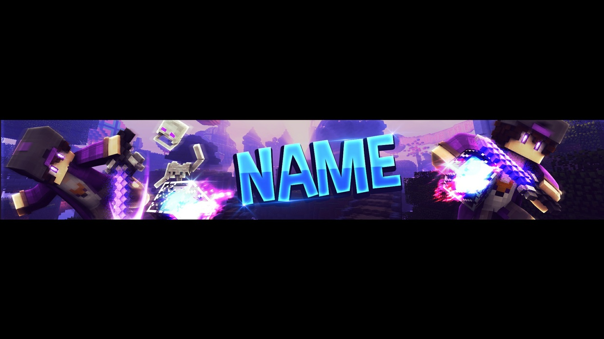FREE MINECRAFT YOUTUBE BANNER TEMPLATE (PURPLE)