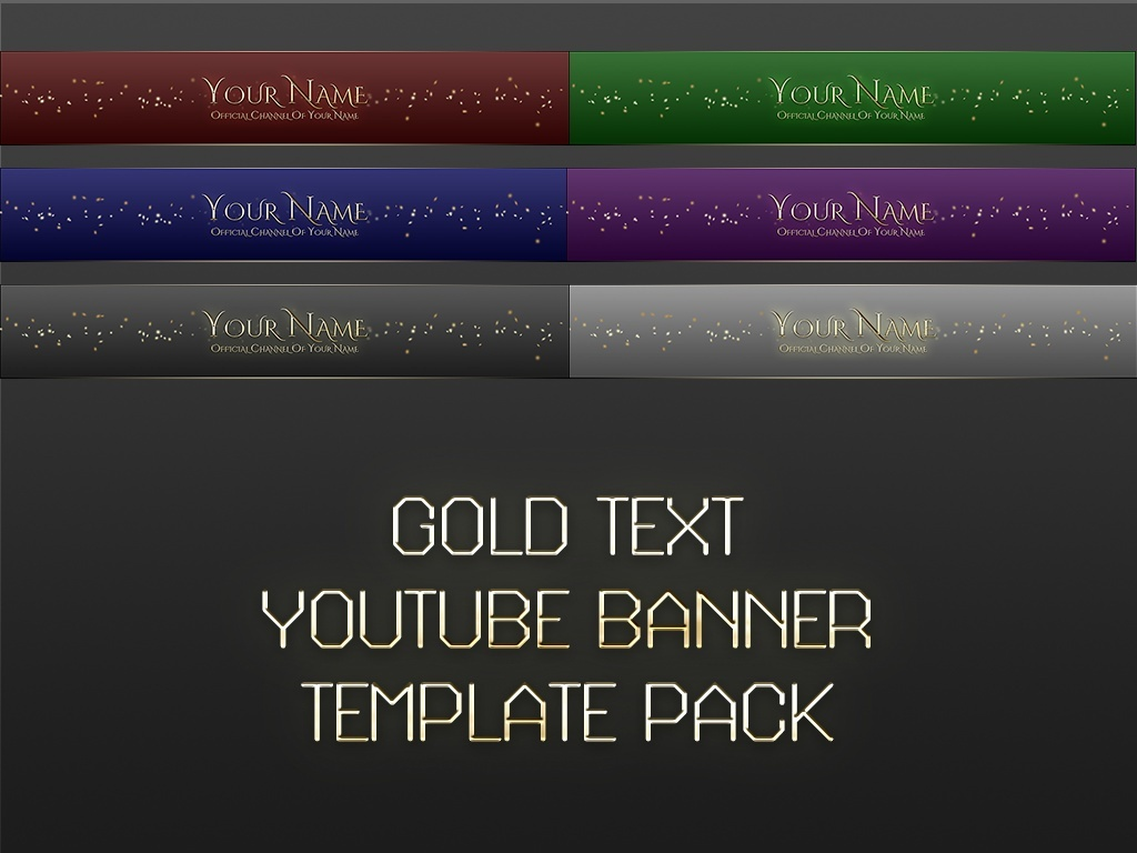 Gold Text YouTube Banner Photoshop Templates