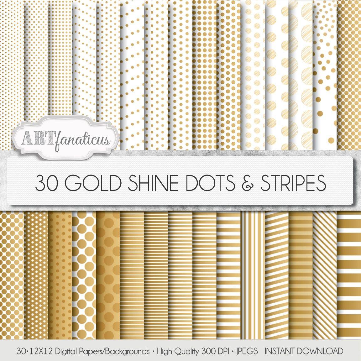 30 GOLD SHINE DOTS & STRIPES DIGITAL PAPER