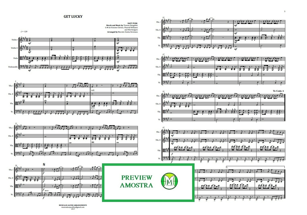 Get Lucky | Daft Punk | String Quartet | Score and Parts Download